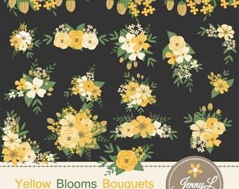 Yellow Flower Bouquet Clipart, Wedding Flowers, Flower Bunches, Floral Arrangement for digital Scrapbooking, Wedding, Save the Date