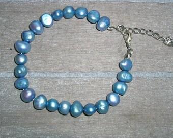 Pearl bracelet blue, freshwater pearl bracelet, Bracelet, mother's day gift, birthday gift, blue pearl, pearl bracelet