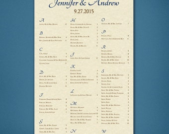 PRINTABLE Wedding Seating Chart • Parchment Background • Reception Seating Assignment • Digital File • Parchment Seating Cart • Navy • Brown
