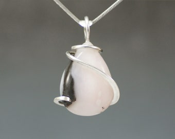 Pink Opal Pear Cold Forged Sterling Silver Pendant
