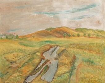 Post Impressionist landscape vintage oil painting
