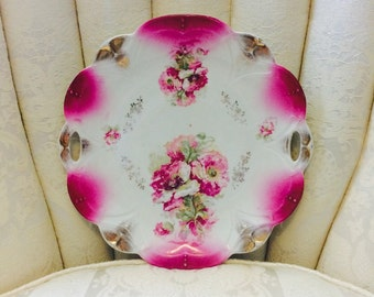 1920s - 1930s Pink Wild Rose Handled China Plate