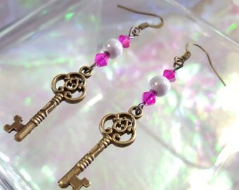 KEY ANTIQUE dangling earrings with bright pink and white miracle beads.