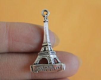 Silver 3D Eiffel Tower Charm - Eiffel Tower Pendant - Paris France Charm - Silver Eiffel Tower Statue  5*18*32mm