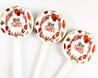 6 White Chocolate Thanksgiving Lollipops
