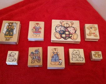 Teddy bear rubber stamps, set of 9 / teddy bear lovers stamp set