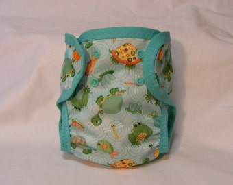 Medium PUL Dry-Weave Lined Single-Sized Baby Diaper With Soaker