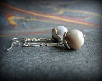 Botswana agate and sterling silver earrings, dangle earrings, neutral gray earrings ... aGiftofLaughter ..  tagt team