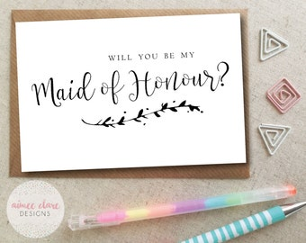 Will You Be My Maid of Honour Calligraphy Card