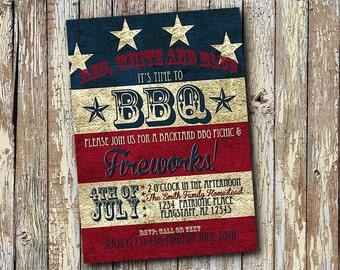 Fourth of July Flag Patriotic Fireworks Invitation