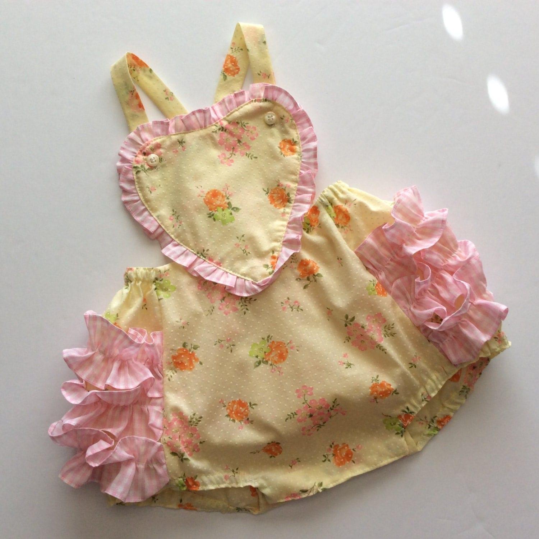 Vintage Sunsuit Baby Girl Romper Ruffle Butt Heart Shaped Bib