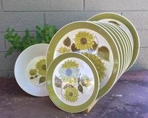 Mikasa Duplex Dahlia Ben Seibel Plates Platter Vegetable Serving Bowl Bread Plate Mid Century Boho Retro Modern Vintage Dishes