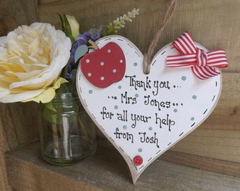 Handmade personalised thank you Teacher heart