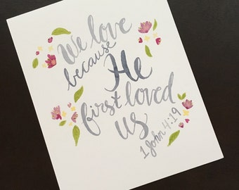 Watercolor Bible Verse/ Hand Lettered Print
