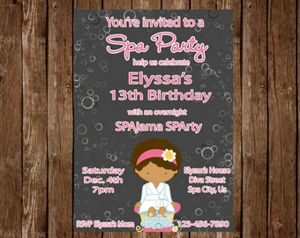 Spa Birthday Slumber Party Invitation