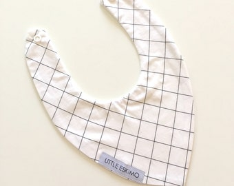 SALE - Baby Bib, Toddler Bib, Bibs - Grid in Black and White