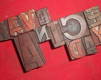 """12 Antique Letterpress Printers Wood Type Blocks """"Have A Nice Day"""" hand carved & used in India for craft decor etc 25 m.m. to 50 m.m. #Ey113"""