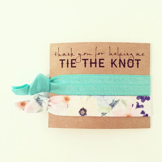 Turquoise Floral Hair Tie Bridesmaid Gift   Turquoise Floral Bridesmaid Gift Hair Ties, Bridal Shower Favor, Teal Seafoam Turquoise Favors
