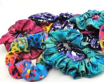Sparkly Spandex Hair Scrunchies / Free Shipping / Dancewear / Swimwear / Mermaid Tail Accessories / Ponytail / Hair / Wigs / Birthday Gift
