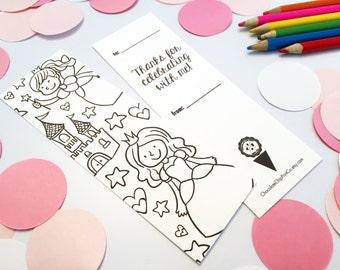Coloring Book Bookmark - Party Favor - Princess Theme