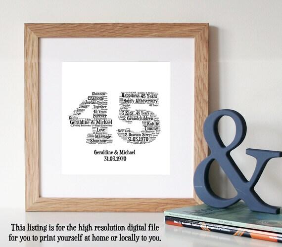 Personalised 45 YEAR ANNIVERSARY GiftWord Art PrintPrintable Art ...