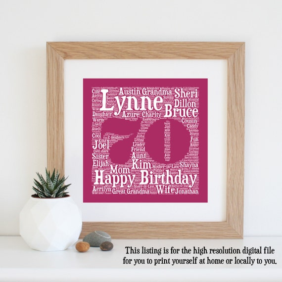 Personalised 70TH BIRTHDAY GIFT Printable Word By