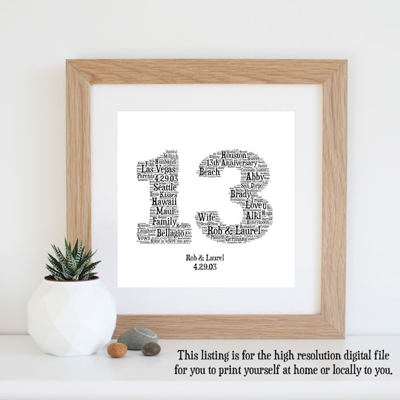 Gift For 13th Wedding Anniversary: Personalised 13th ANNIVERSARY GIFT Word Art By WordlyDesigns