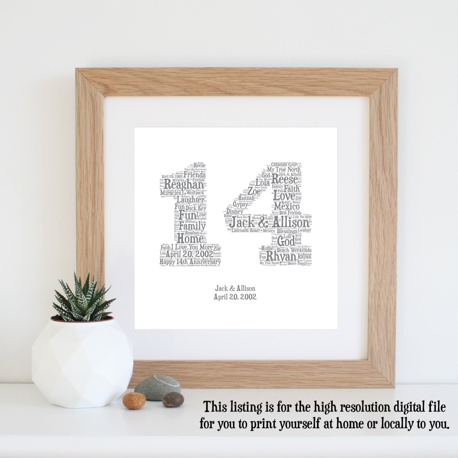 14th Year Wedding Anniversary Gift: 14th ANNIVERSARY GIFT Word Art Printable Art 14 Year