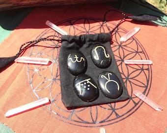 Wiccan Set,Wiccan Symbol Stones,Spring,Summer,Autumn,Winter,Velvet Pouch,Palm Stones, Black Palm Stone,Greenman Organics,Pagan Palm Stones