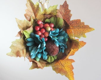 Tea Cup Fall Color Wall Hanging Ornament, Autumn Decor, Thanksgiving Decoration, Upcycled Repurposed Vintage Tea Cup
