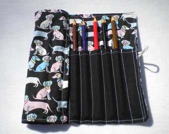 Dog Patterned Colored Pencil Roll - 12 ct