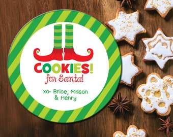 Cookies for Santa Plate, Kids Christmas Cookie Plate, Personalized, Melamine Holiday Plate, Santa Cookie Plate, Elf Feet, Cookie Plate