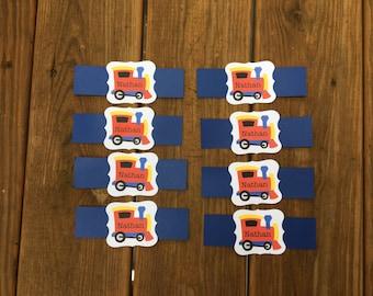 Napkin Rings - Train Theme - Personalized - Set of 8