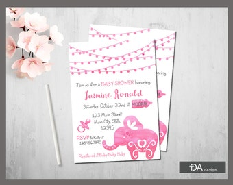 Elephant Baby Shower Invitation, It's a Girl, Little Peanut Baby Shower, Watercolor Pink Baby Shower, Girl Baby Shower, PRINTABLE