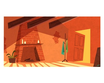 Orange Retro Living Room, 8.5x11 Print