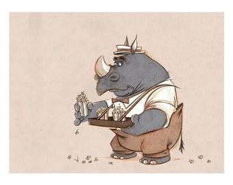 Popcorn Rhino Concessions Series, 8.5x11 Print