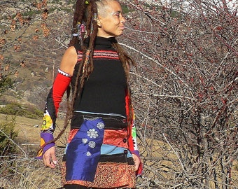 corduroy, fleece and shiny fabric skirt