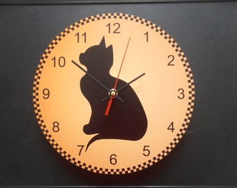 Black cat wall clock.  Black wall clock modern wall clock, unique wall clock, Housewares, Retro wall clock