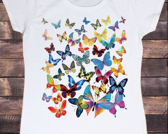 Womens White Tshirt With scattered Butterfly Print TSA05
