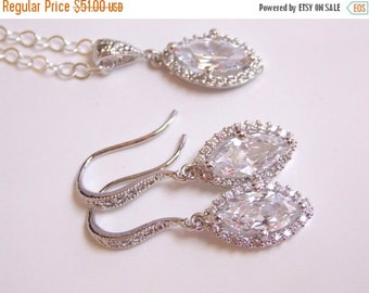 SALE Wedding Jewelry, Sterling Silver, Cubic Zirconia, Bridal Jewelry, Bridal Earrings and Necklace Set, Bridesmaid Earrings, Dangle, Bride