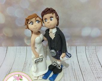 Ski/Snowboard Bride and Groom Fully personalised Wedding Cake Topper - Keepsake
