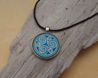 Bronze pendants, Celtic motif, Triskel, blue, Celtic, inspirational jewelry, mandala pendant, Cabochon necklace, amulet