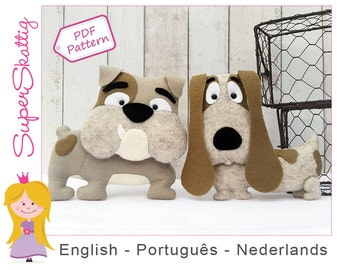 Felt pattern Bob & Eddy, softie pattern for a dog, plush pattern bulldog, pdf sewing pattern animal by Superskattig