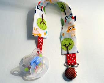 Pacifier - pacifier clip - of red with white polka dots