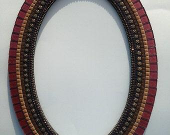 "Cranberry, Oval, Mosaic Mirror, 21""x 15"""