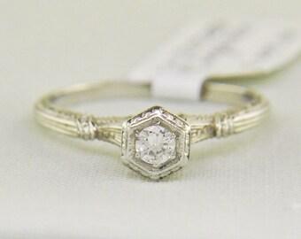 Vintage Platinum Art Deco Solitaire Diamond Engagement Ring