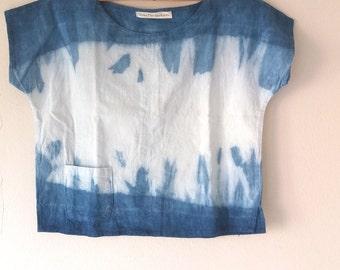 Indigo Shibori Cotton Blouse/ Indigo Blouse/ Indigo Cotton Blouse/Indigo Blouse/ Indigo Tops/Indigo Summer Tops/Indigo Summer Blouse