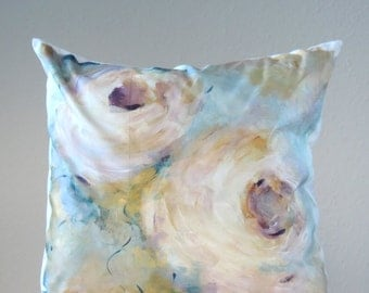 Blue, gold and white hand painted pillow
