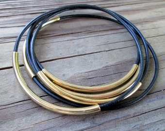 Black Leather Bracelets for Women, Gold and Black Leather Bangles Set, Thin Leather Stacking Bracelets, Boho Leather Black Bracelet Set Gift