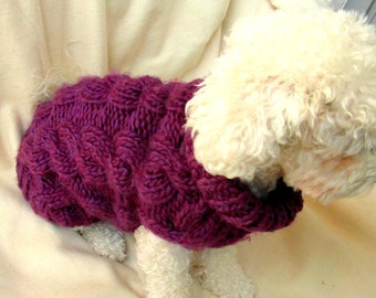 Cabled Dog Sweater - PET Clothing, Small Dog Sweater, Hand Knit Dog clothes, Purple sweater by BubaDog
